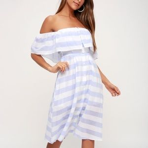 Lulus Transatlantic Blue Ivory Striped Midi Dress